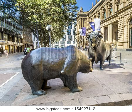 The Bull And Bear Statues At The Frankfurt Stock Exchange In Frankfurt, Germany.