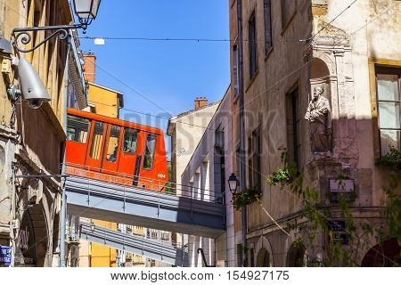 The Cable Car Connects The Old Town With The Hill Fourviere