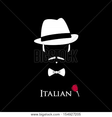 Italian Mafioso. Illustration Man with a mustache and bow tie. Colorful and stylish flat vector character icon.