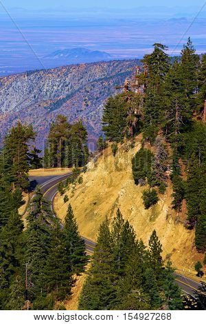 Angeles Crest Highway also known as Highway 2 winding thru the mountains and a Pine Forest overlooking the Mojave Desert taken in the San Gabriel Mountains, CA