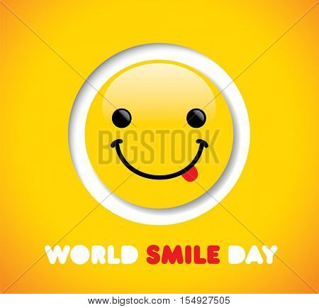 World Smile Day on yellow background.