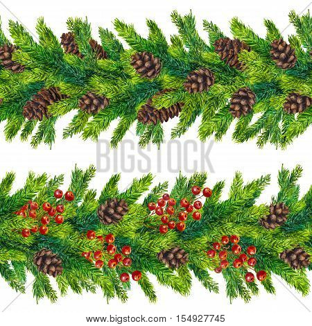 Set of watercolor christmas seamless borders of fir branches, cones and red berries, watercolour hand painted xmas seamless border for greeting card, invitation, poster, print