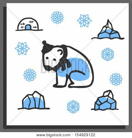 Greeting card template with cute doodle polar bear, igloo, snowflakes, icebergs. Cartoon vector illustration isolated on white