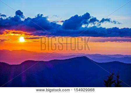 mount mimtchell sunset landscape in the summer