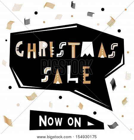 Christmas sale text . Holiday template for winter sale with abstract geometric confetti. Vector Illustration