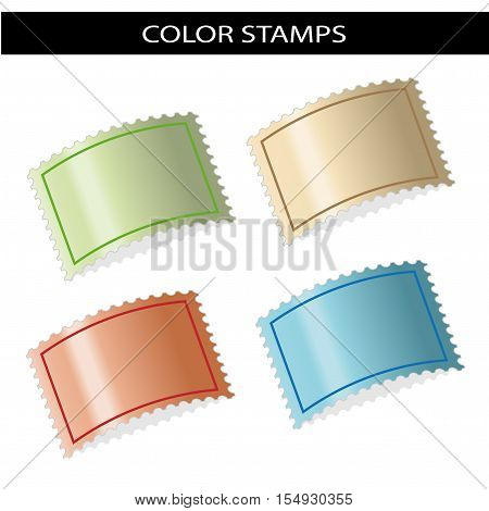 Vector deflected stamps - green, beige, red, blue