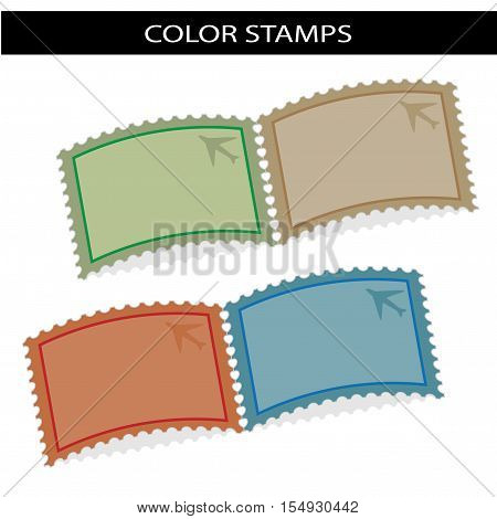 Vector deflected stamps with symbol of airplane