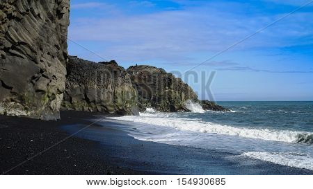 Landscape of Dyrholaey cape volcanic sand beach South Iceland