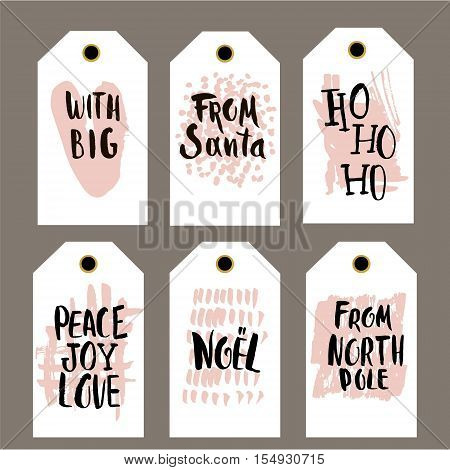 Set of 6 printable hand drawn holiday label with a hand written phrases. Vector trendy seasonal badge design