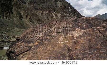 Petroglyphs at the bank of Indus river Karakorum Gilgit-Baltistan Pakistan