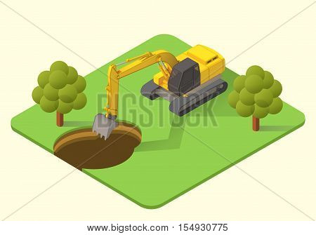 excavator dig machine vector isometric illustration. mining excavator flat.