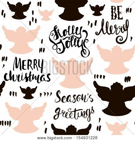 Seamless Holiday hand drawn pattern with christmas angels and hand written lettering. Vector Illustration