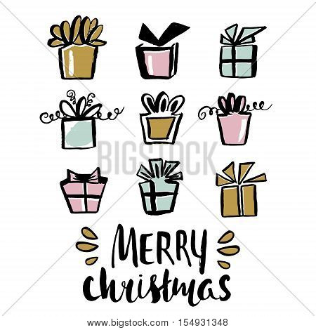 Merry Christmas unique holiday handwritten lettering and gifts made with ink and dry brush. Winter modern greeting card with gifts. Vector Illustration