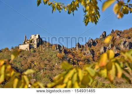 Castle Durnstein and the vineyards of Wachau in fall. Famous UNESCO cultural landscape known for its wine.