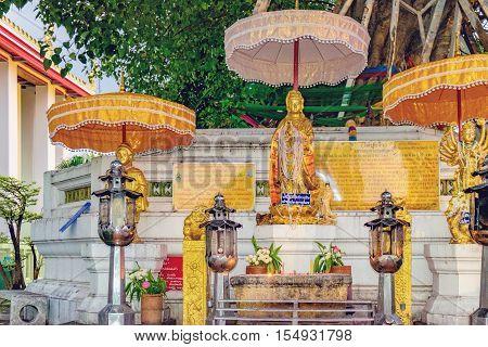 Bangkok, Thailand - December 7, 2015: Decoration and Gold Buddha Statue in Wat Pho public temple Bangkok Thailand.