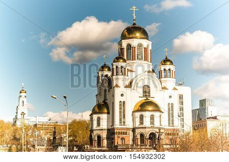 Ekaterinburg. View of the Temple-on-Blood and Voznesenskaya Gorka .