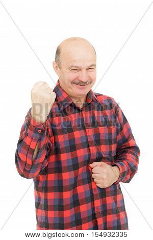 man clenched his fists showing good physical shape