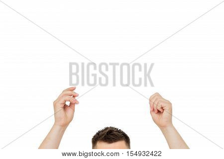 head and hands of the white man holding a sign for your text and advertising