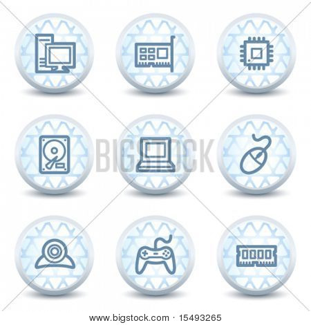 Computer web icons, glossy circle buttons