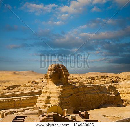 Egypt Pyramids Sphinx Full Body Profile Blue Sky