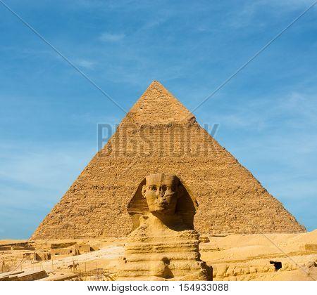 Sphinx Face Pyramid Khafre Centered Blue Sky