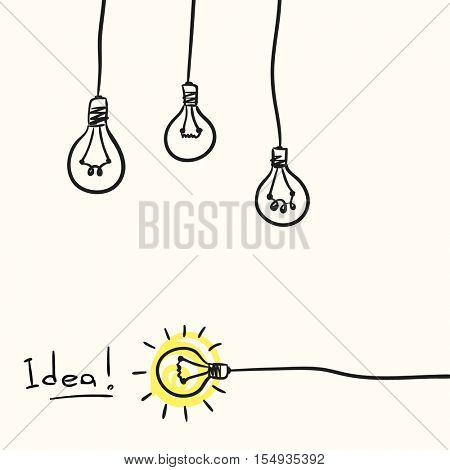 Light bulb concept of idea, Hand drawn illustration Vector sketch