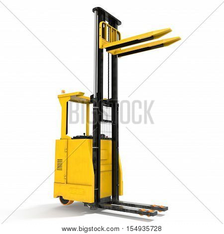 Yellow industrial fork lifter for cargo transport isolated on white background. 3D illustration