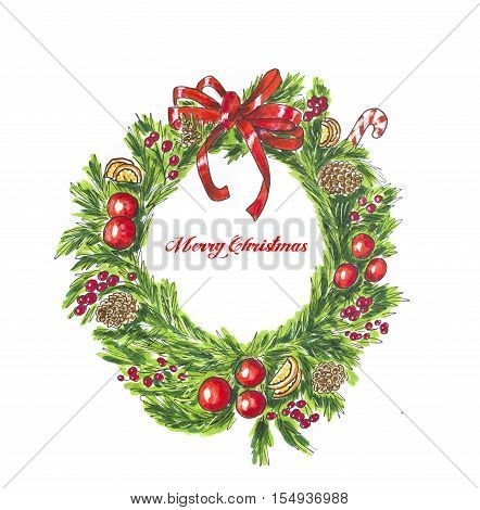 Christmas green wreath on white. Hand drawn sketch