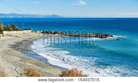 Empty beach; resort of Varazze; Province of Savona. Italy