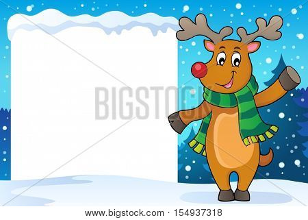 Snowy frame with stylized Christmas deer - eps10 vector illustration.