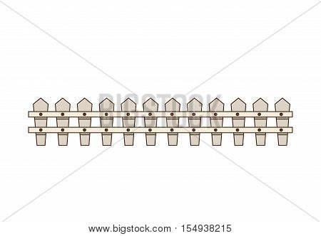 white wooden fence icon over white background. vector illustration