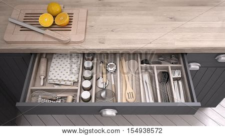 Kitchen opened drawer full of kitchenware, 3D illustration