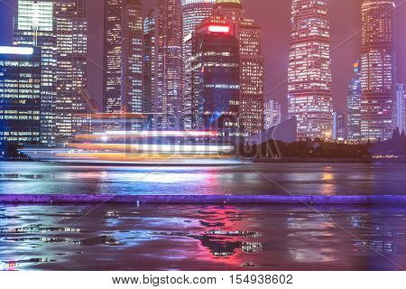 The skyscrapers of buildings along the huangpu river, Shanghai, China