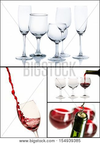 Red wine and glasses on white background