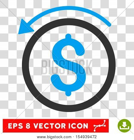 Refund EPS vector pictogram. Illustration style is flat iconic bicolor blue and gray symbol on white background.