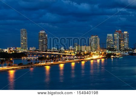 View Of Biscayne Bay At Night In Miami Florida, Usa