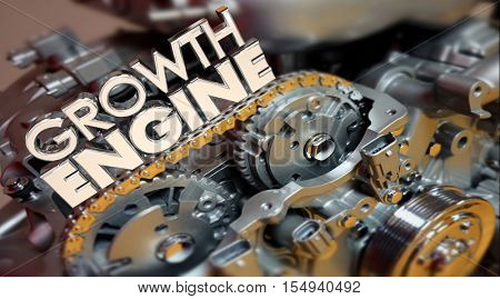 Growth Engine Increase More Results Improve Words 3d Illustration