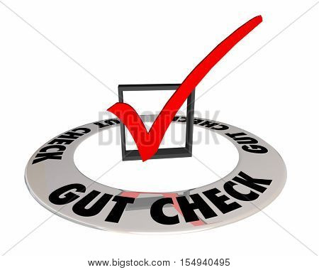 Gut Check Intuition Hunch Instinct Box Mark 3d Illustration poster
