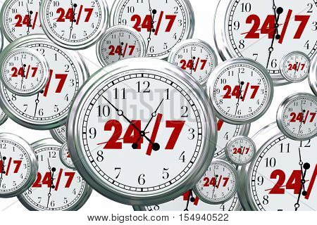 24 7 Hours Day Service Always Open Clocks Time 3d Illustration