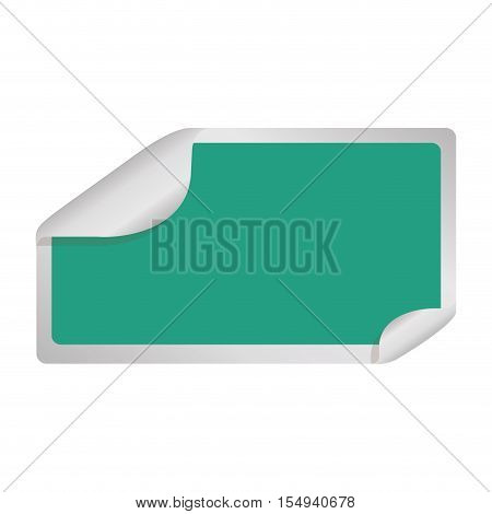 blank sticker in square shape and green color icon over white background. vector illustration
