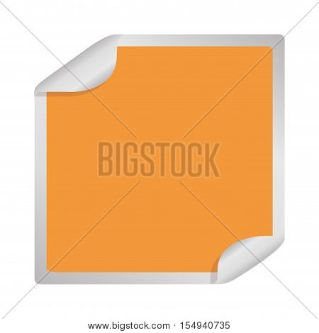 blank sticker in square shape and orange color icon over white background. vector illustration