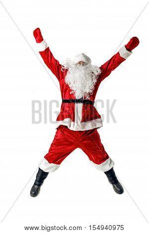 Joyful Santa Claus Jumping And Waving His Arms.