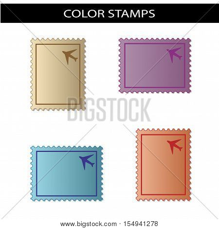 Vector stamps with symbol of airplane - illustration