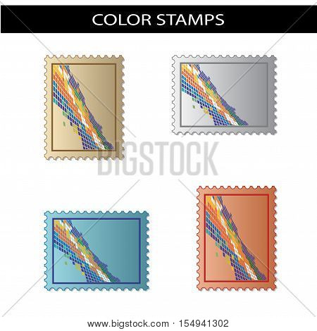 Vector stamps with color mosaic on white background