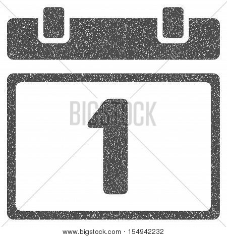 First Day grainy textured icon for overlay watermark stamps. Flat symbol with dirty texture. Dotted vector gray ink rubber seal stamp with grunge design on a white background.