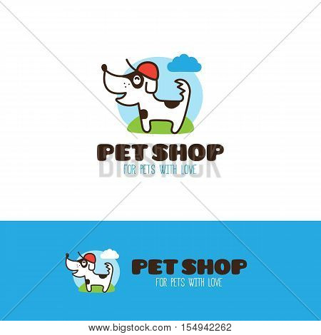 Vector cartoon little dog logo. Pet shop or veterinary clinic logo with cute line style dog mascot