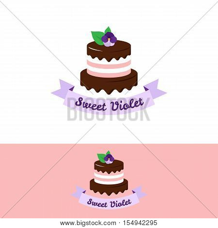 Vector cute pink cake logo with chocolate and violet flower on the top. Wedding cake store logo. Sweets shop logo.