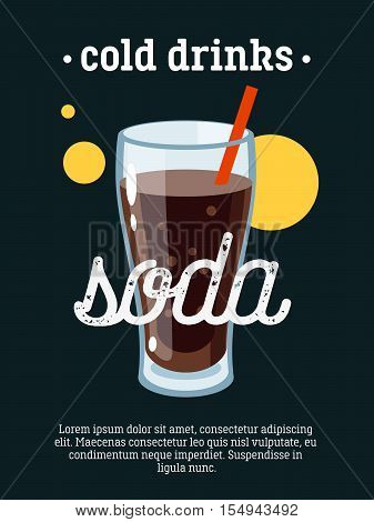 Cold drinks - blackboard restaurant sign, poster with glass of soda. Vector illustration, eps10.