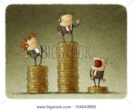Drawing of three cartoon businessmen standing on different pedestals made of coins showing inequality.