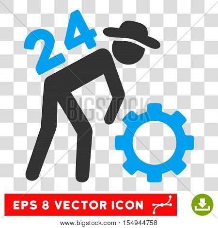 Nonstop Working Person EPS vector pictograph. Illustration style is flat iconic bicolor blue and gray symbol on white background.